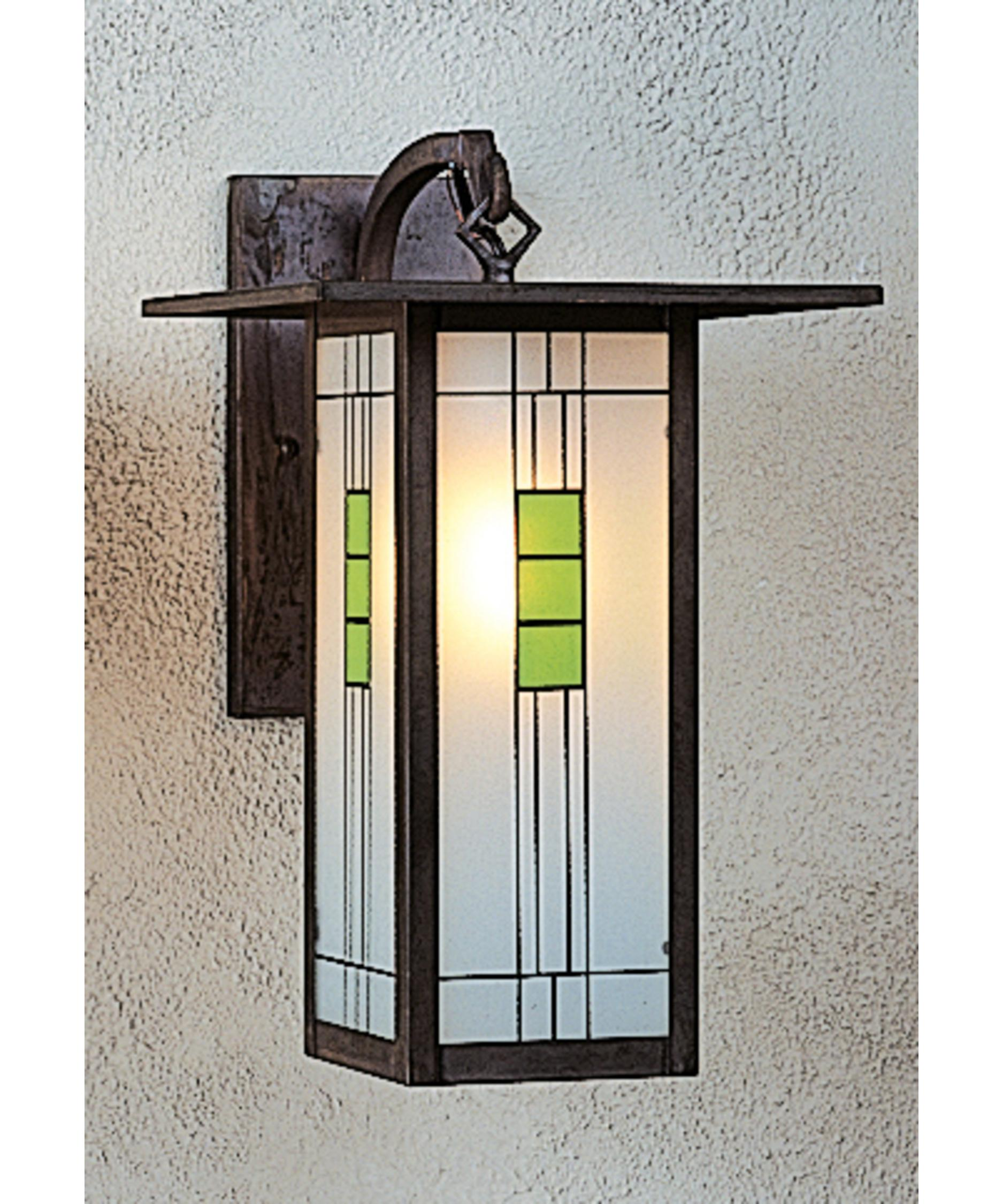 Shown In Mission Brown Finish And Green Black Combination Glass