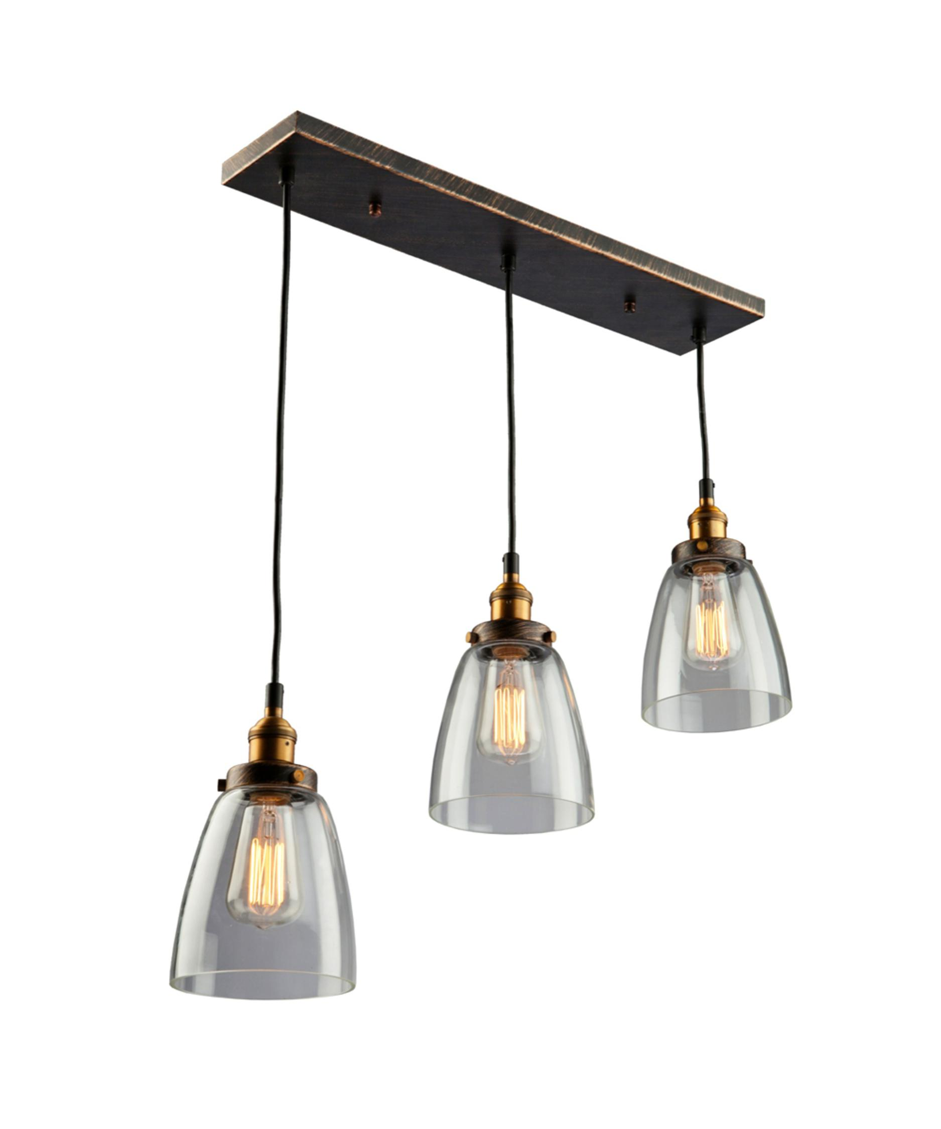 multi pendant lighting. shown in coppermulti tone brown finish and clear glass multi pendant lighting