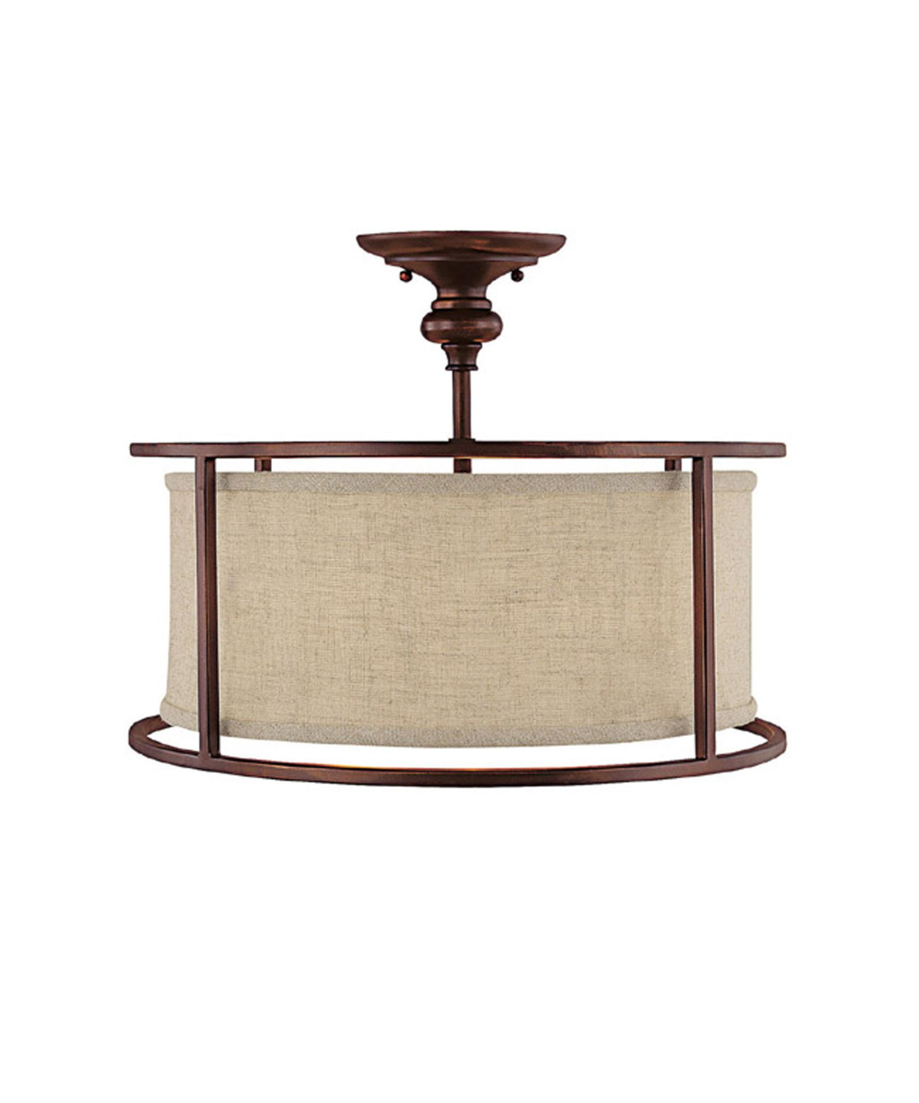 shown in burnished bronze finish and beige fabric shade - Capital Lighting