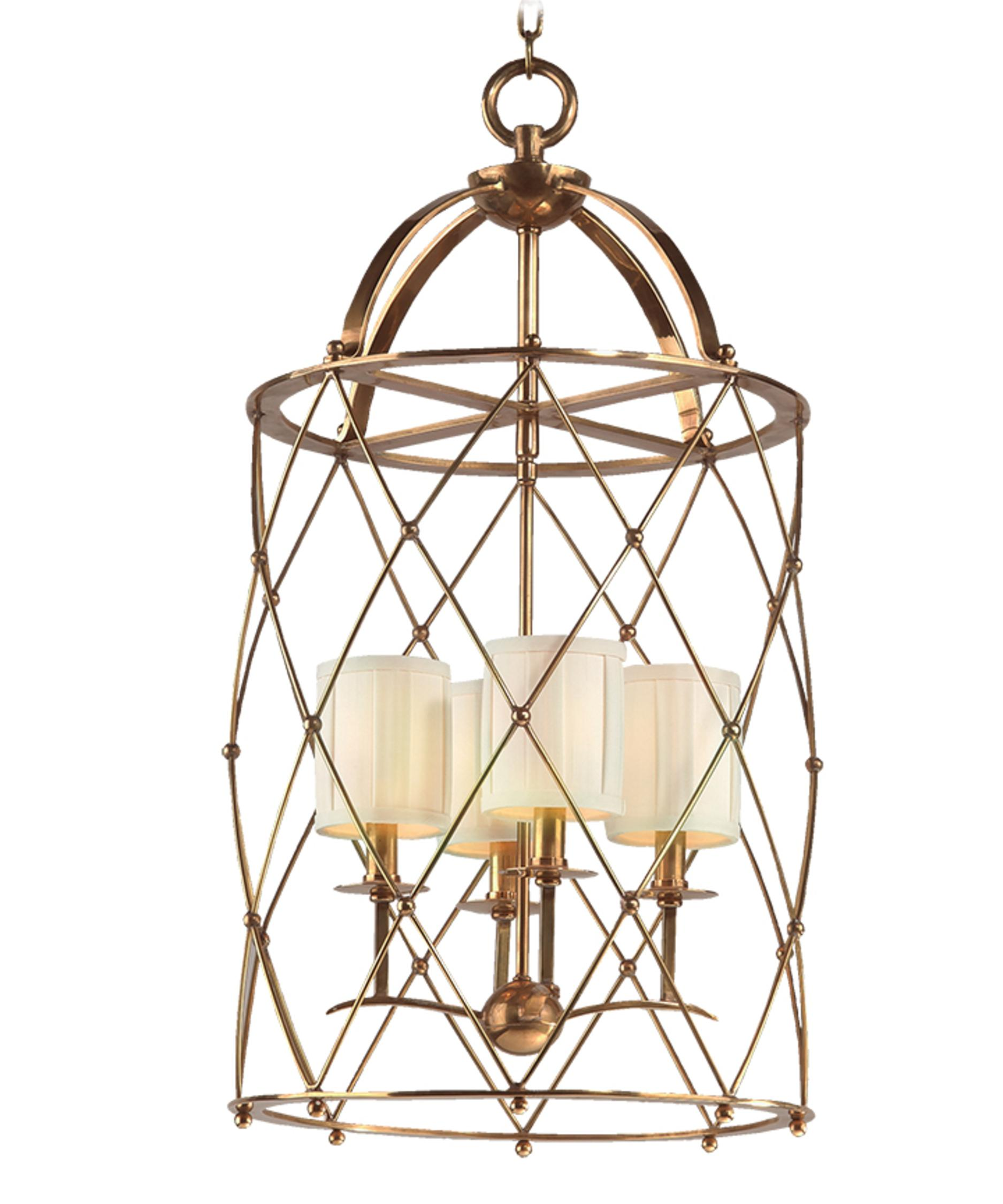 shown in aged brass finish and box pleat shade shade - Corbett Lighting