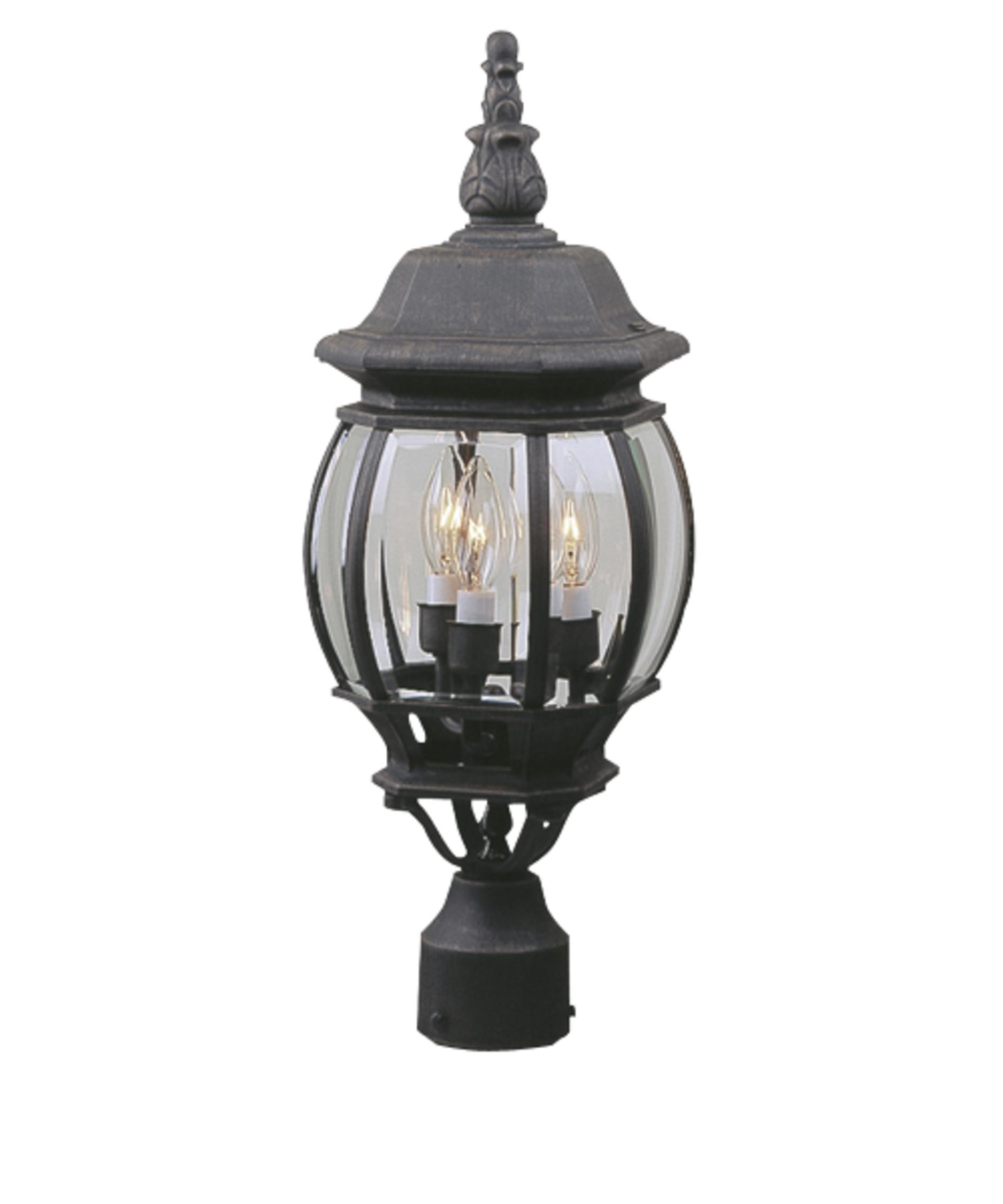 french outdoor lighting. shown in matte black finish and clear beveled glass french outdoor lighting