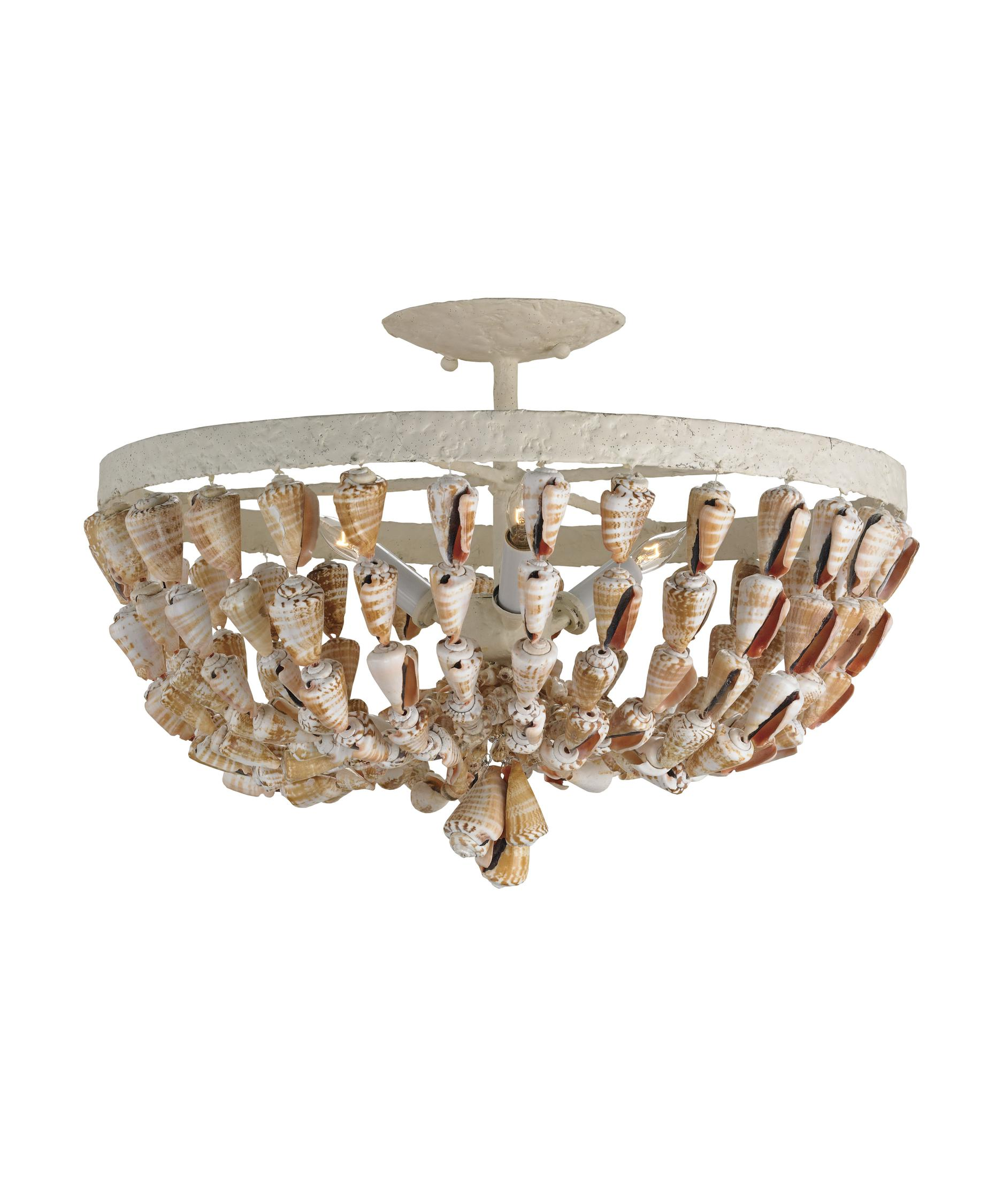 Currey and Company Waterside 18 Inch Wide Semi Flush Mount – Semi Flush Mount Chandelier