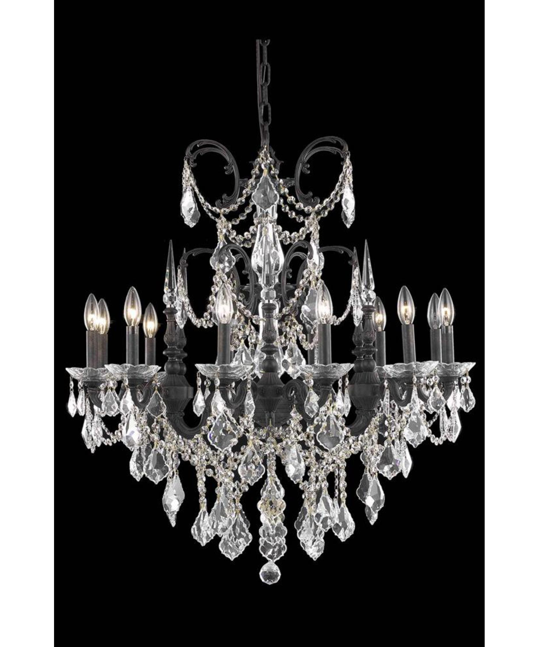 Elegant Lighting Athena 32 Inch Wide 12 Light Chandelier – Antique Bronze Crystal Chandelier