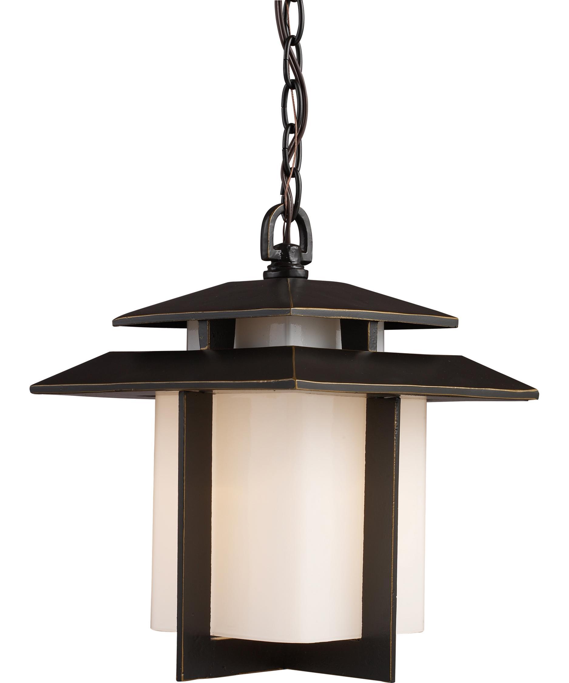 Outdoor hanging lighting - Shown In Hazelnut Bronze Finish And White Glass