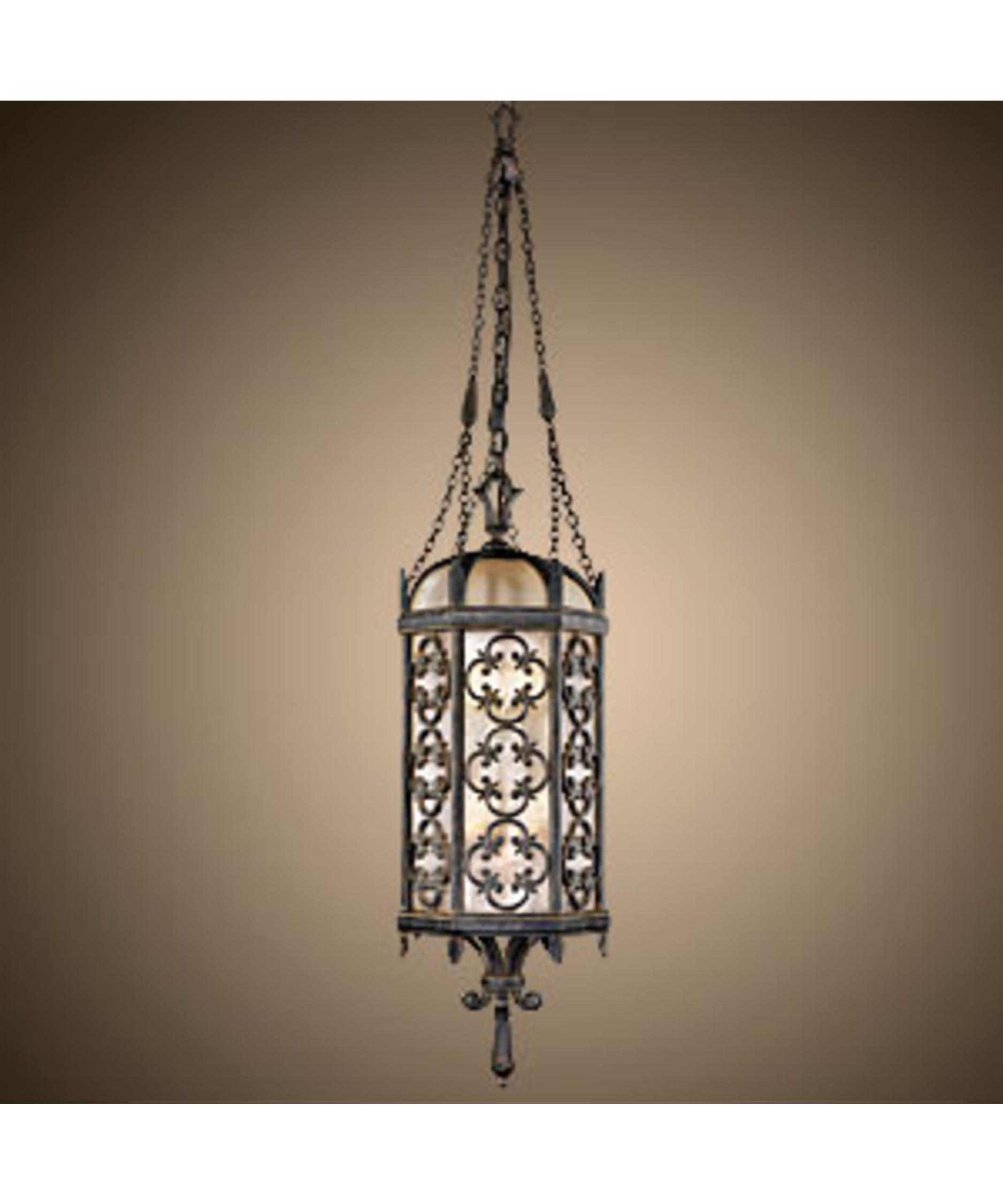 Outdoor hanging lamp - Shown In Wrought Iron Finish And Subtle Iridescent Textured Glass Glass