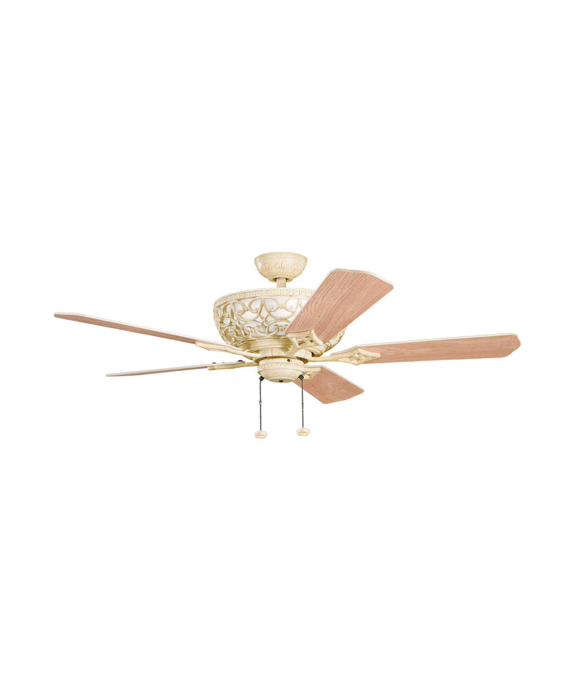 shown in aged white finish and white marble glass - Kichler Fans