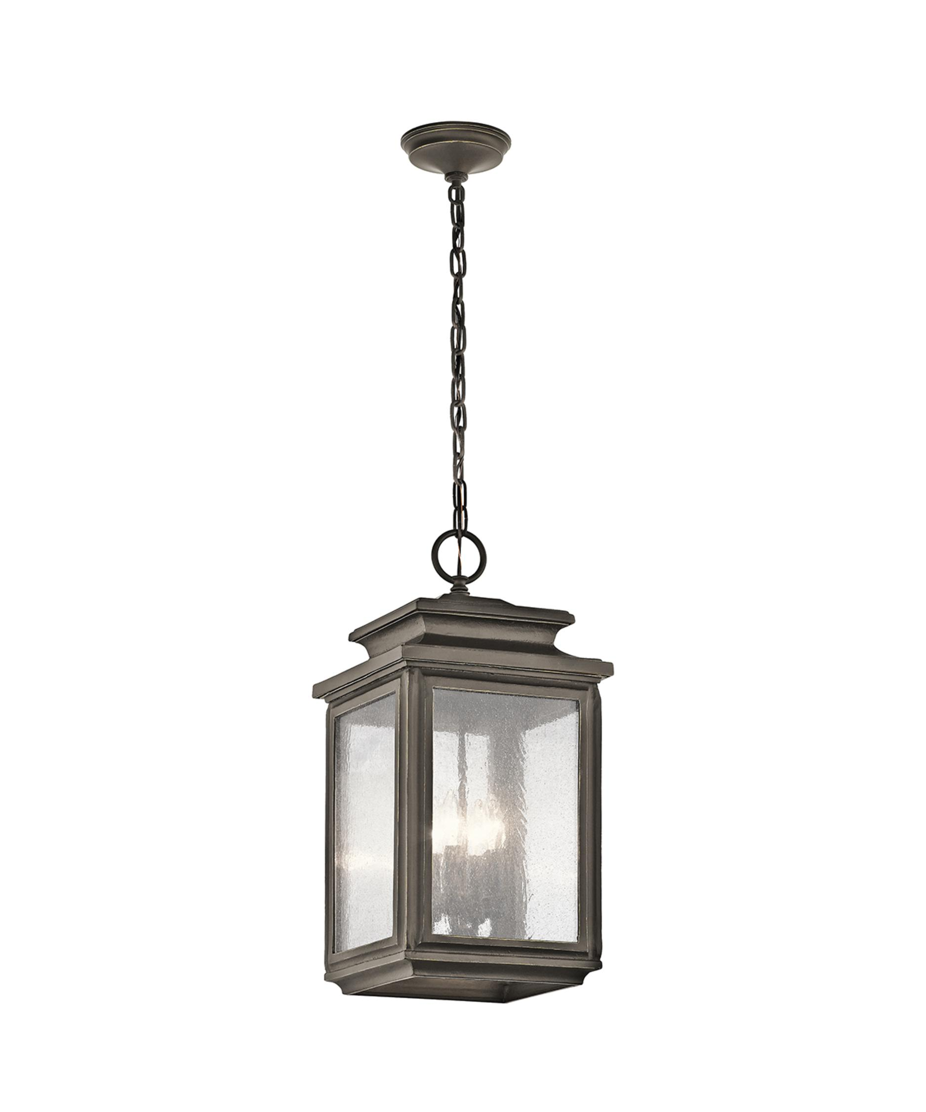 Outdoor hanging lamp - Shown In Olde Bronze Finish And Clear Seedy Glass