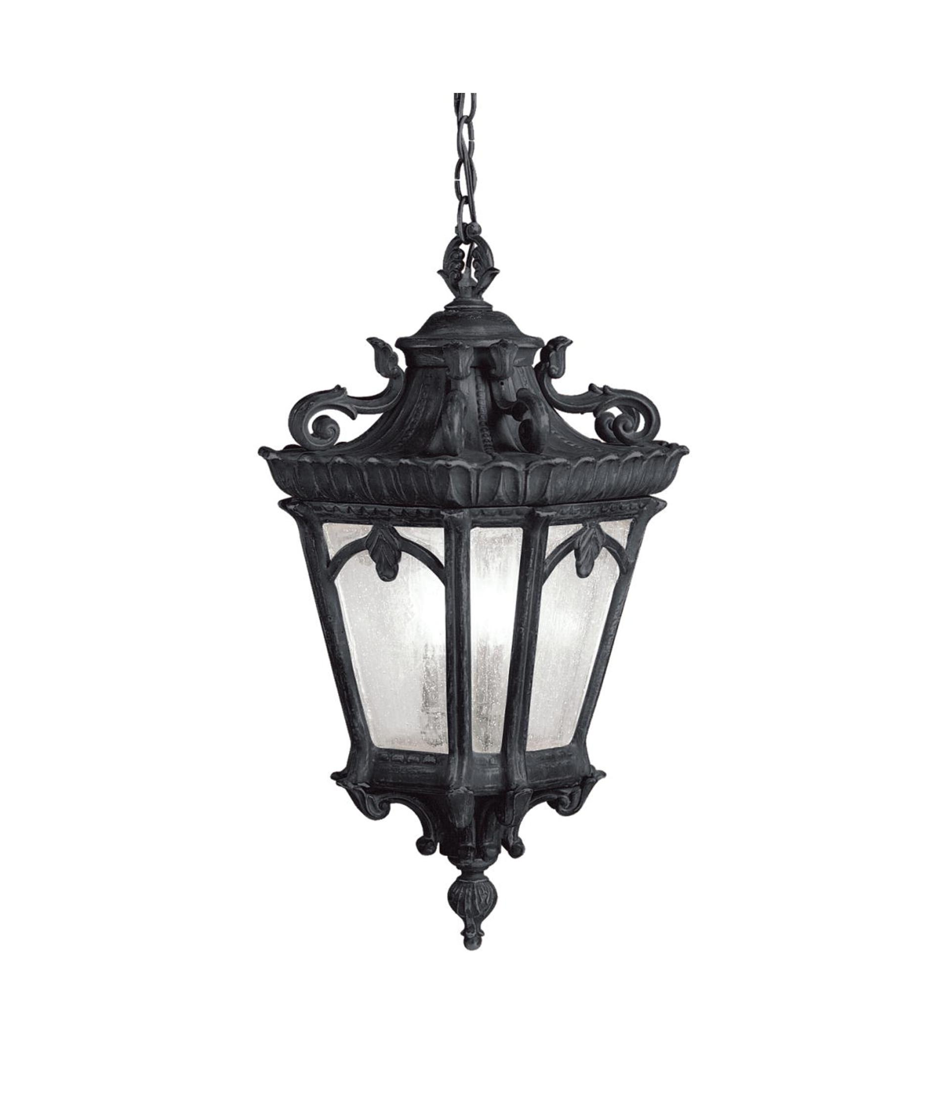 Outdoor hanging lamp - Shown In Textured Black Finish And Clear Seedy Glass