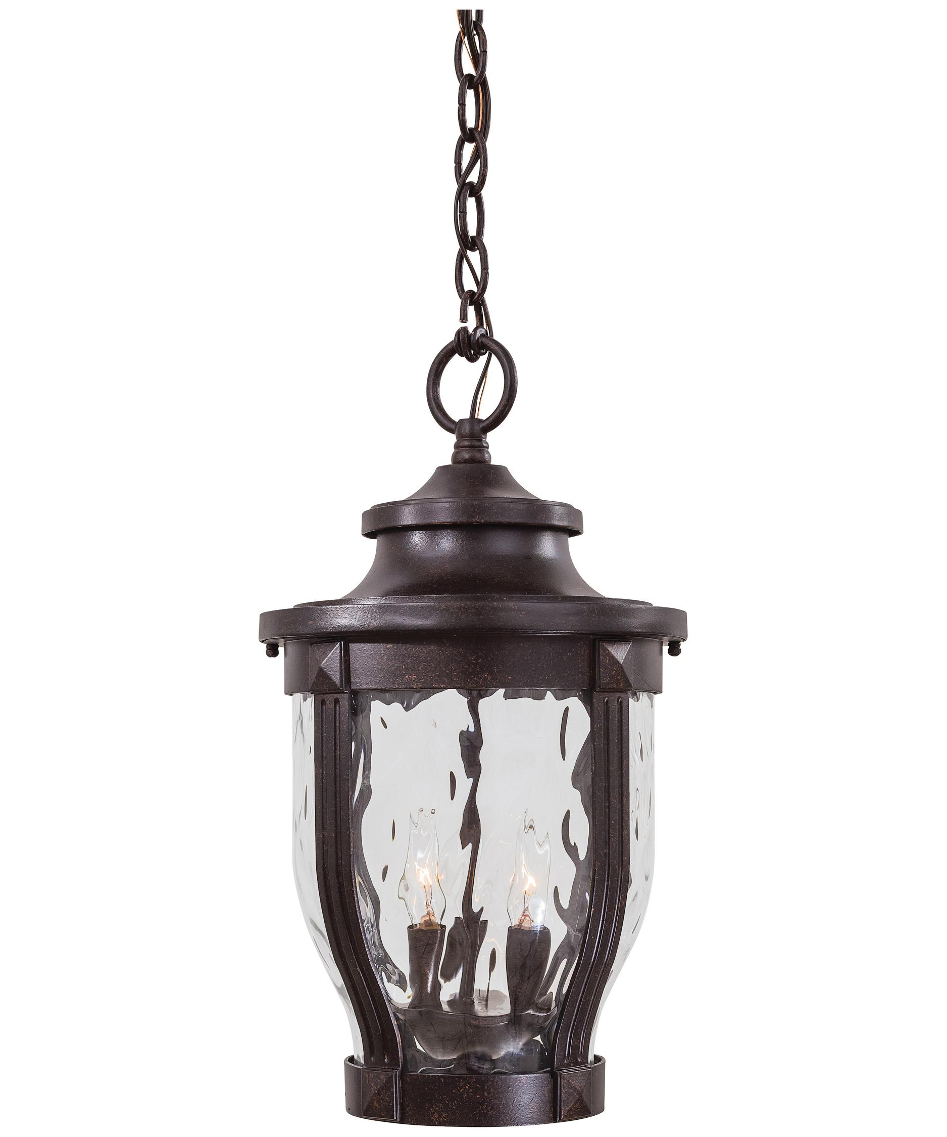 Outdoor hanging lamp - Shown In Corona Bronze Finish And Clear Hammered Glass