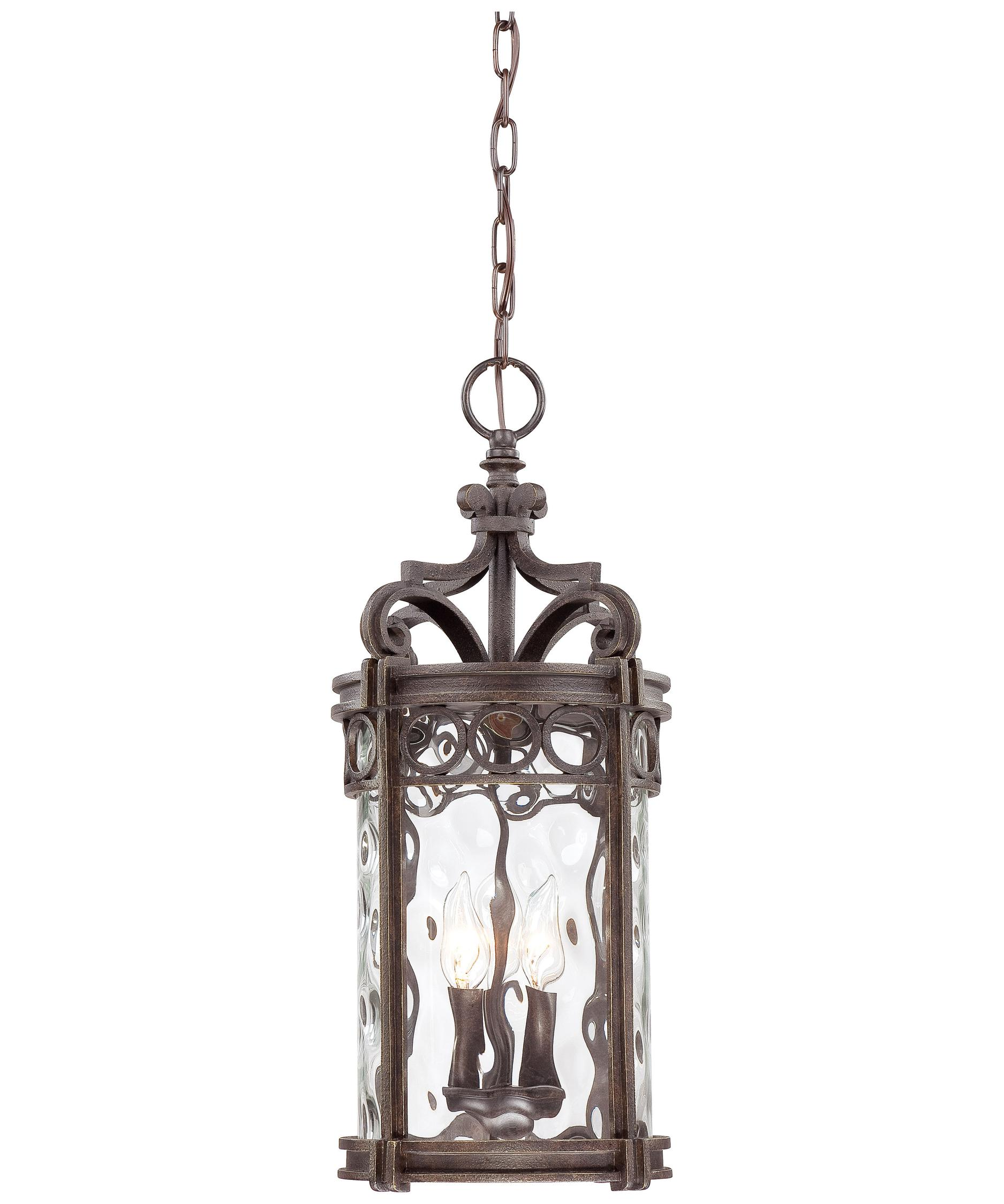 Outdoor hanging lighting - Shown In Regal Bay Patina Finish And Clear Hammered Glass
