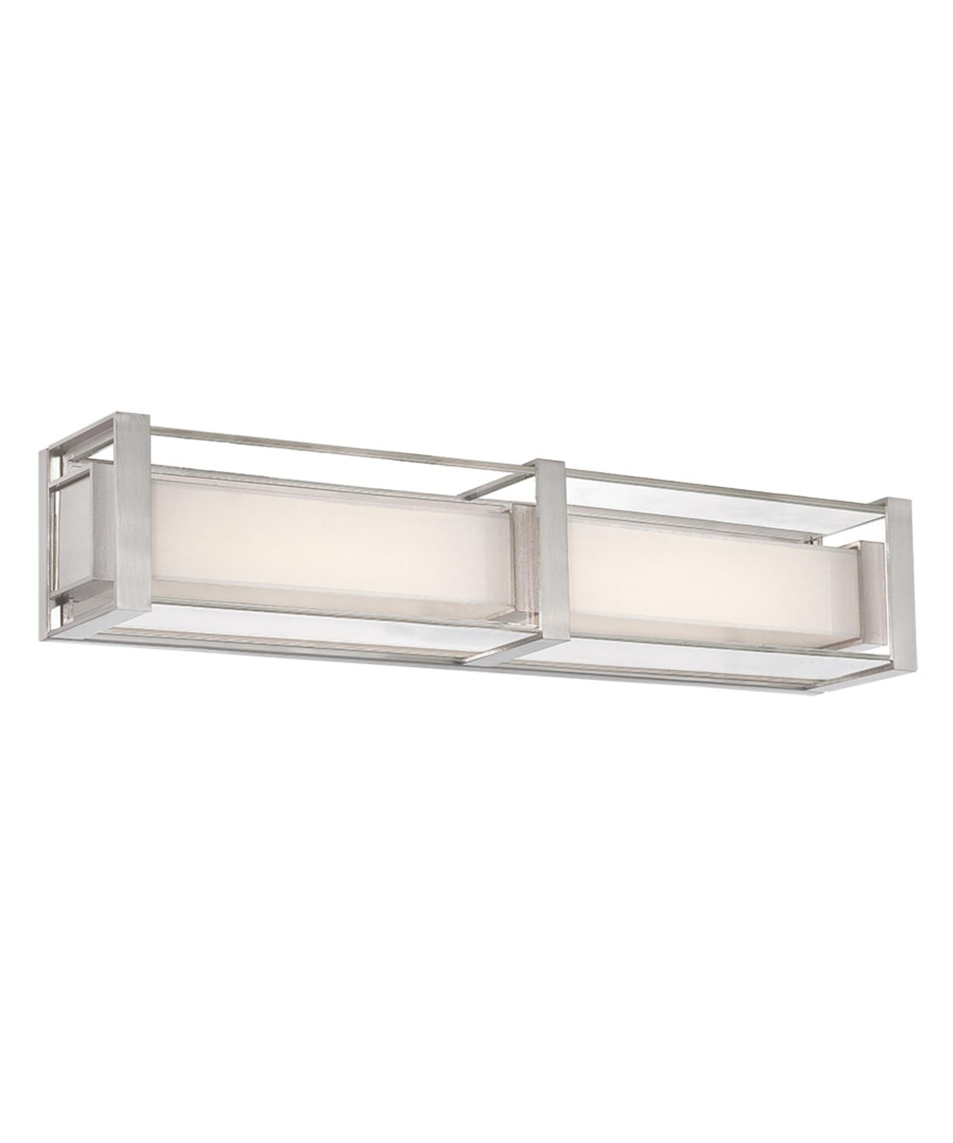 modern forms ws sheridan  inch wide bath vanity light  - shown in brushed nickel finish and white ceramic glass