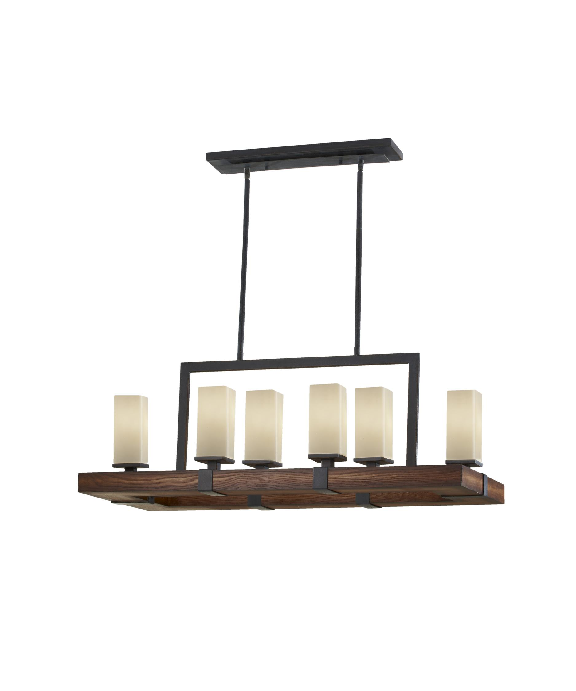 shown in antique forged iron and aged walnut finish and cream etched glass - Feiss Lighting