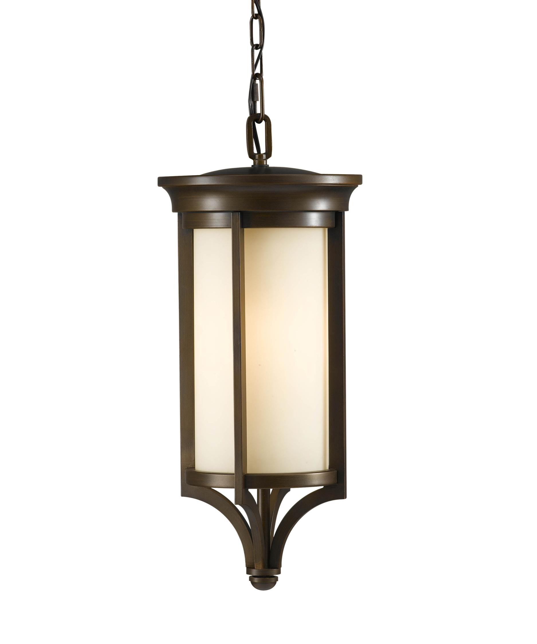 Outdoor hanging lamp - Shown In Heritage Bronze Finish And Cream Etched Glass