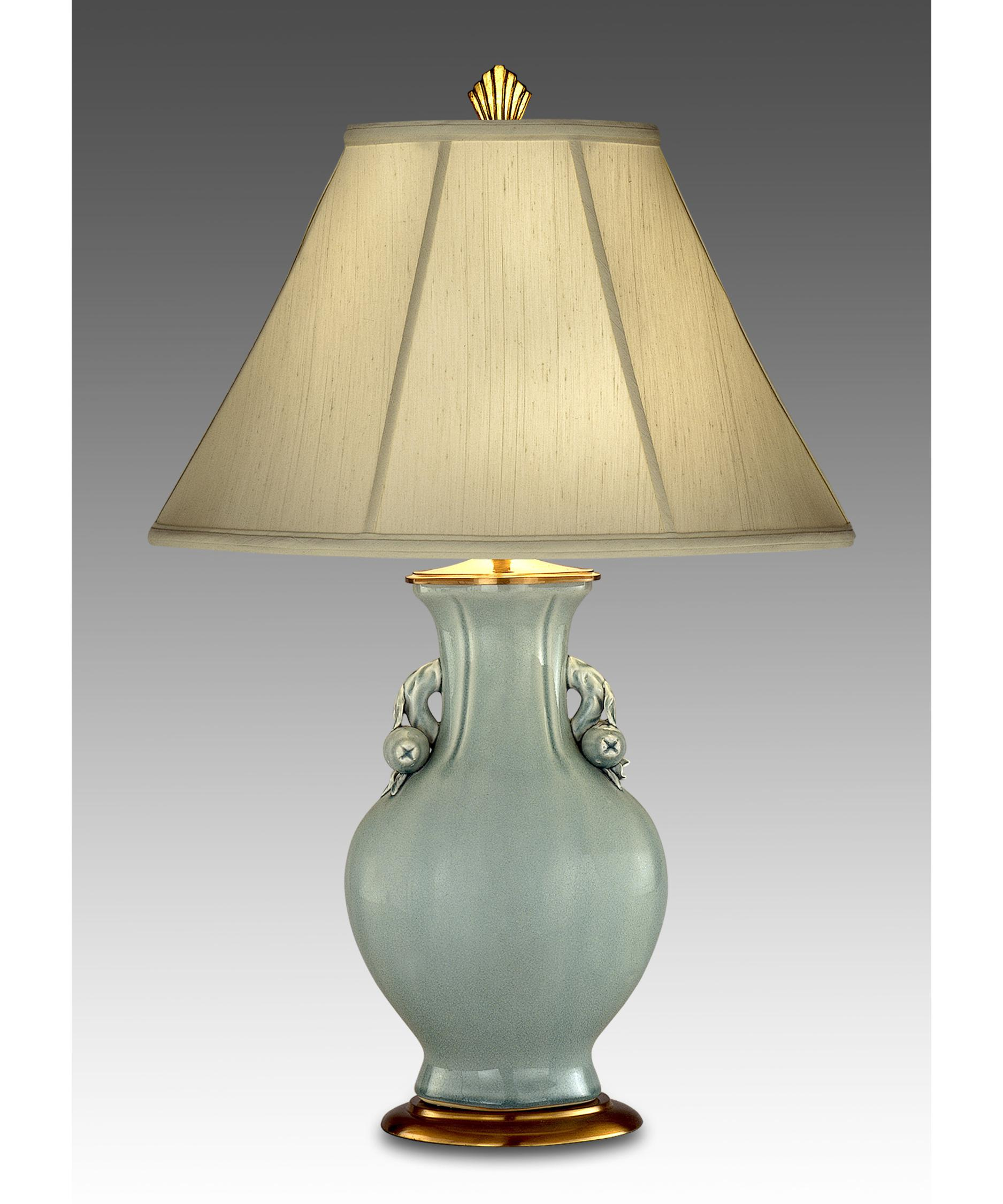 Antique porcelain table lamps - Shown In Celadon With Antique Brass Finish And Brussels Cream Shade