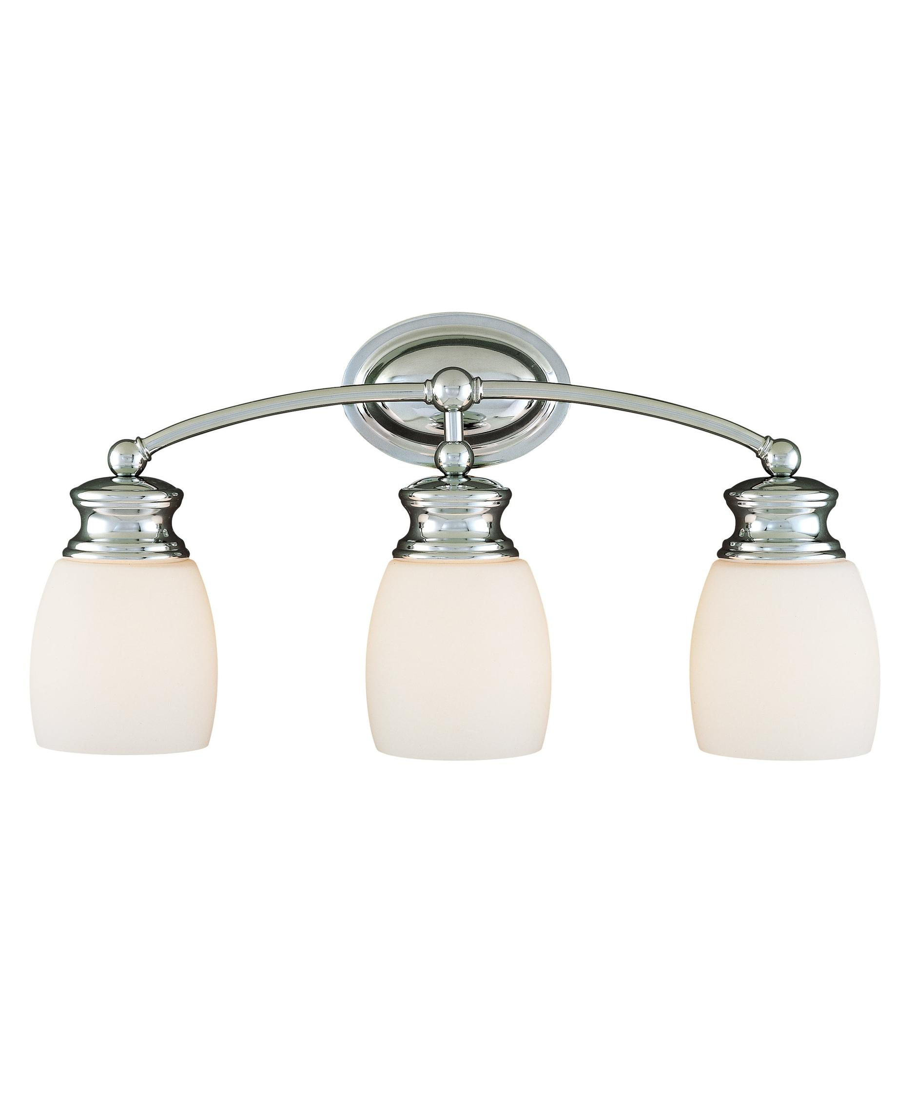 shown in chrome finish and frosted opal glass bathroom vanity lighting 7
