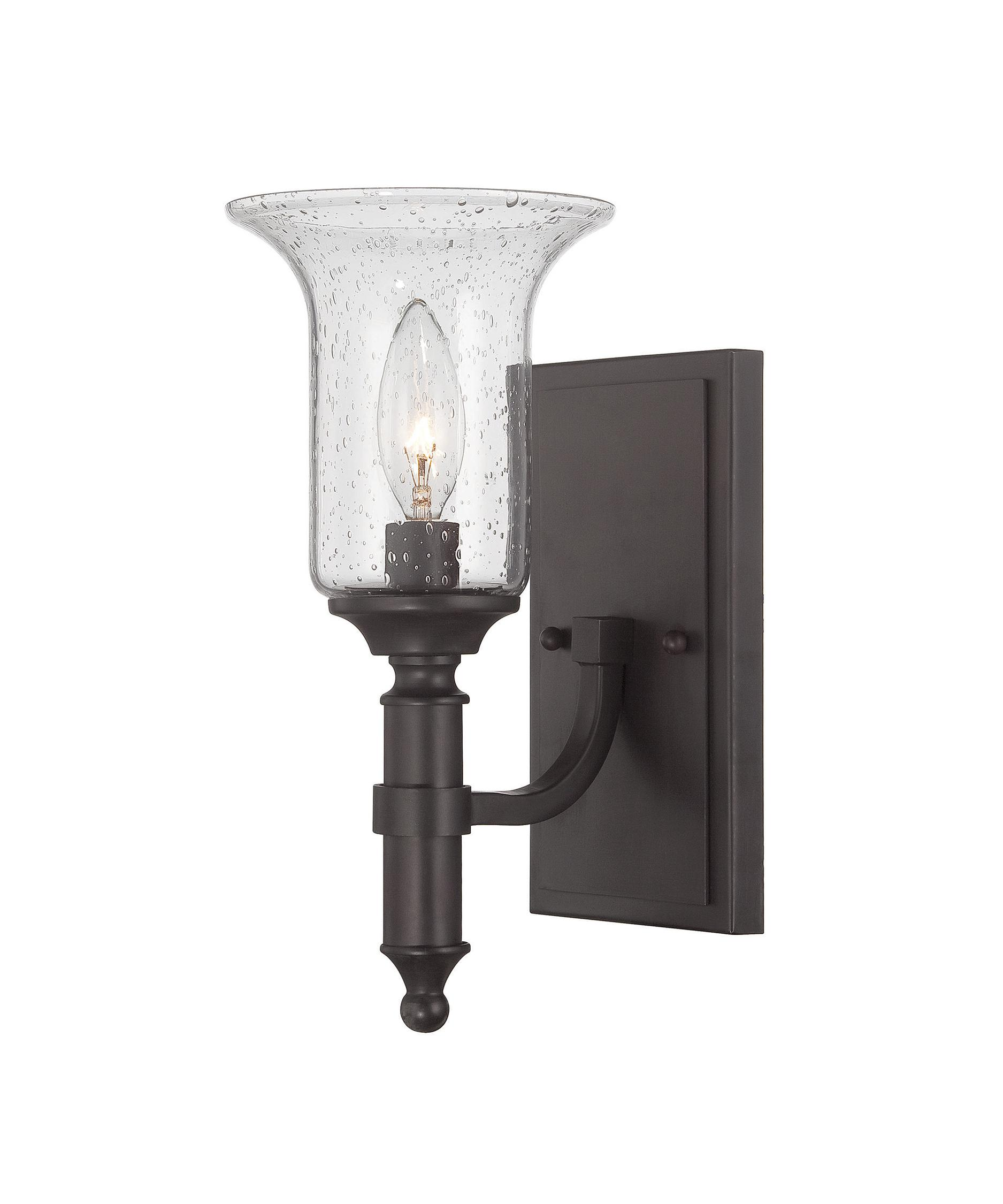shown in english bronze finish and seeded glass - Savoy Lighting