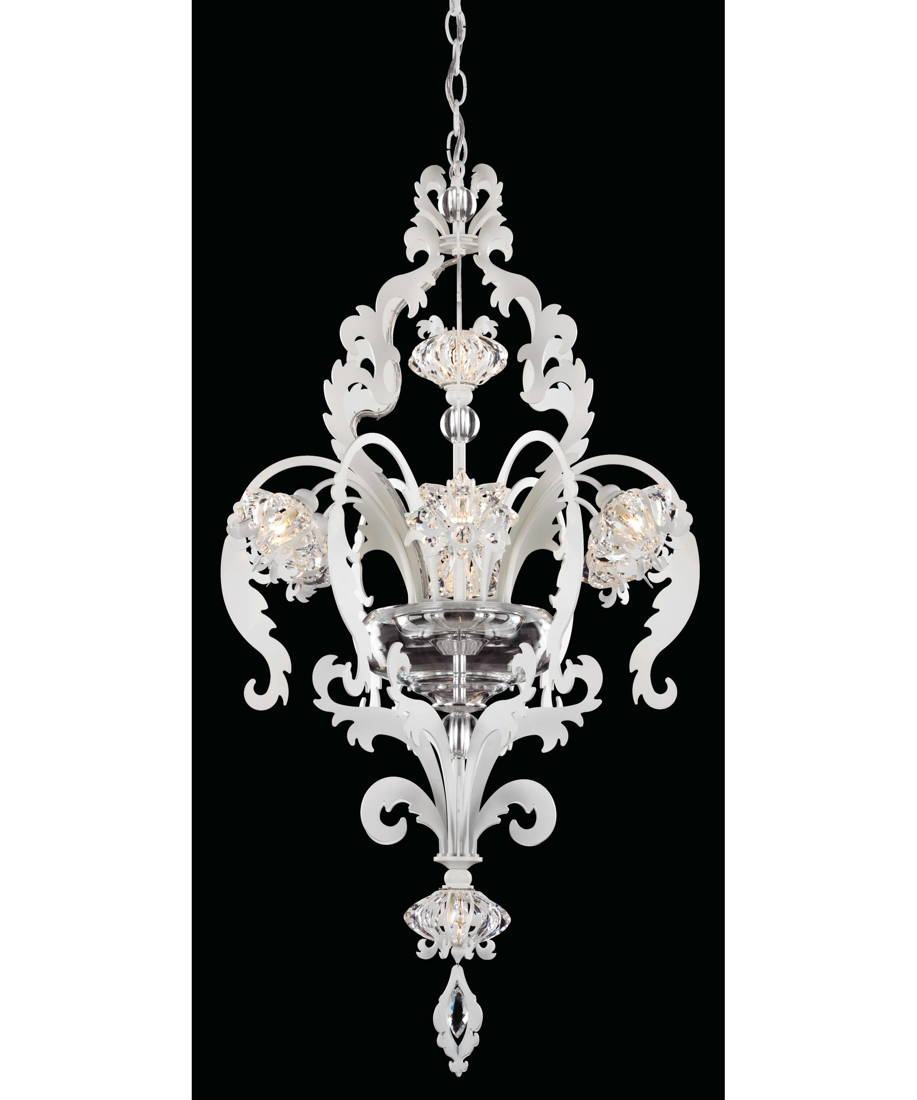 shown in white finish and clear swarovski elements crystal - Schonbek Chandelier