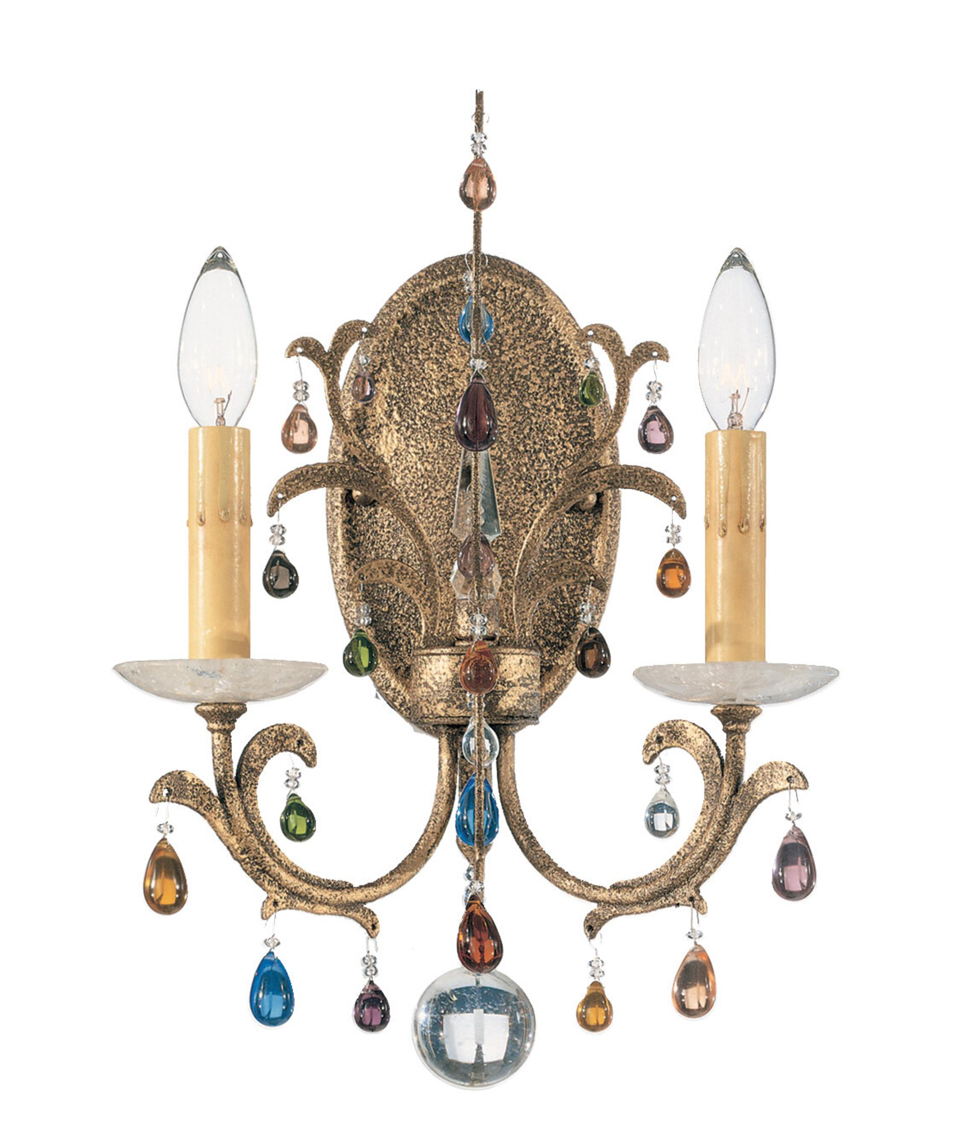 shown in bronze gold finish and jewel tones and rock crystal