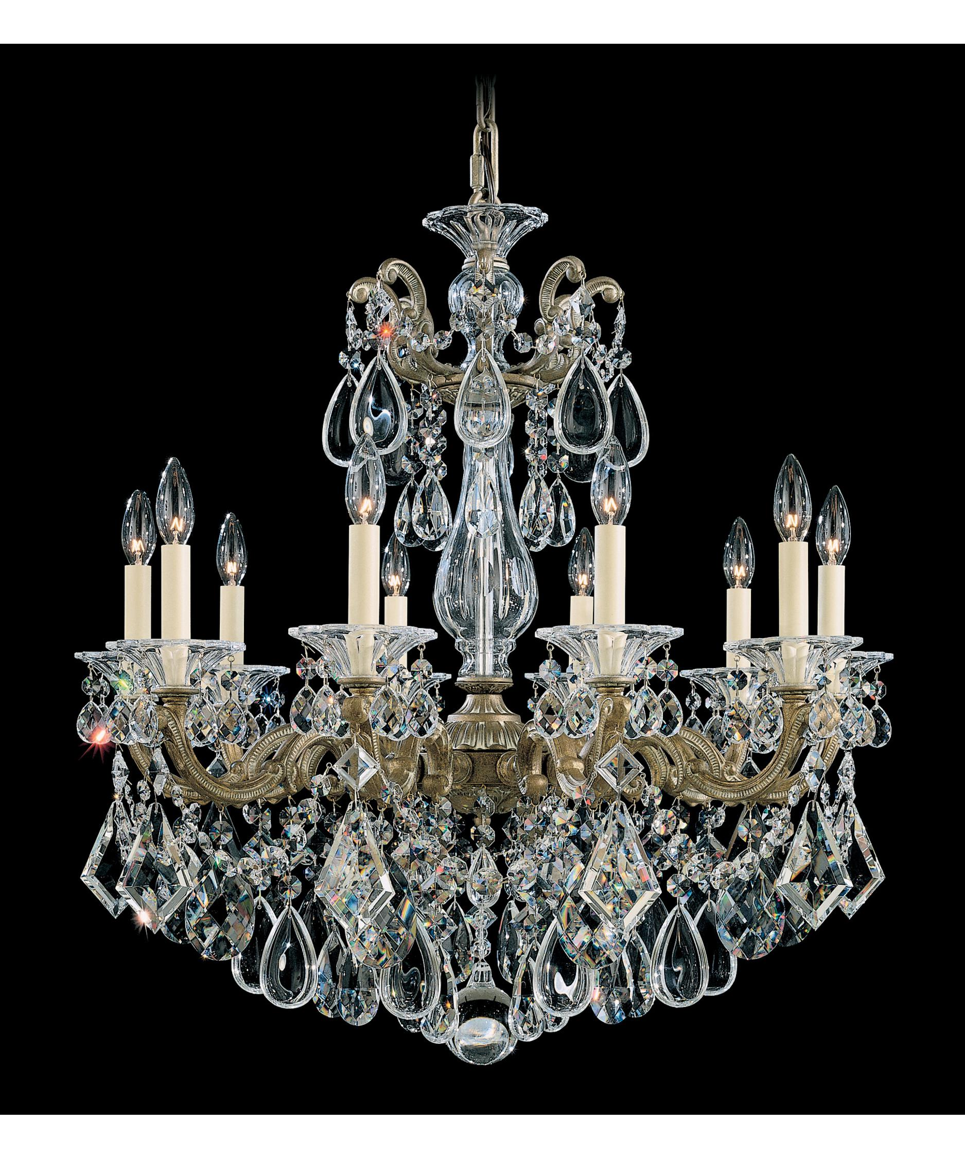 shown in parchment bronze finish and clear heritage handcut crystal - Schonbek Chandelier