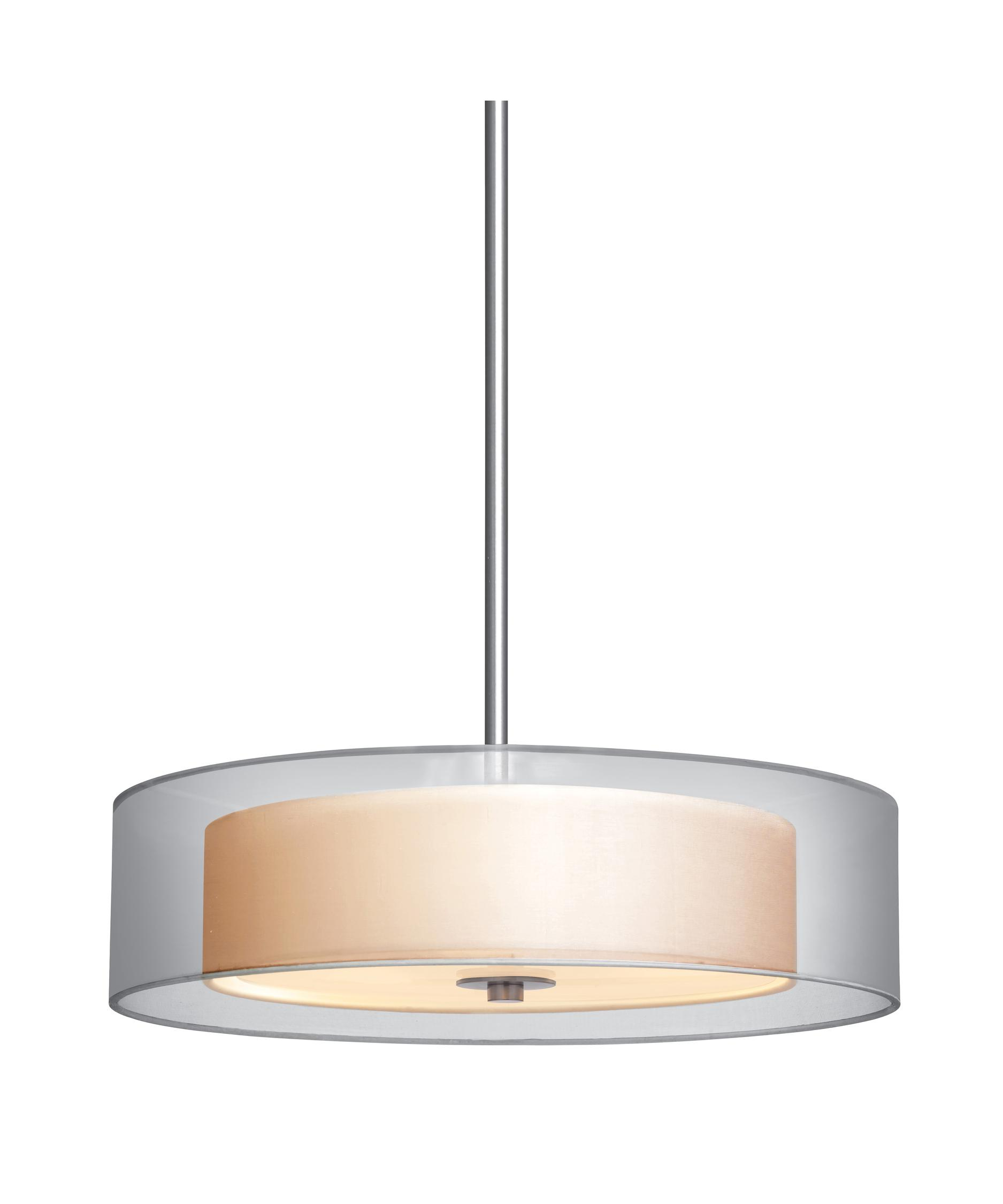 sonneman  puri  inch wide  light large pendant  capitol  - shown in satin nickel finish and silver organza shade