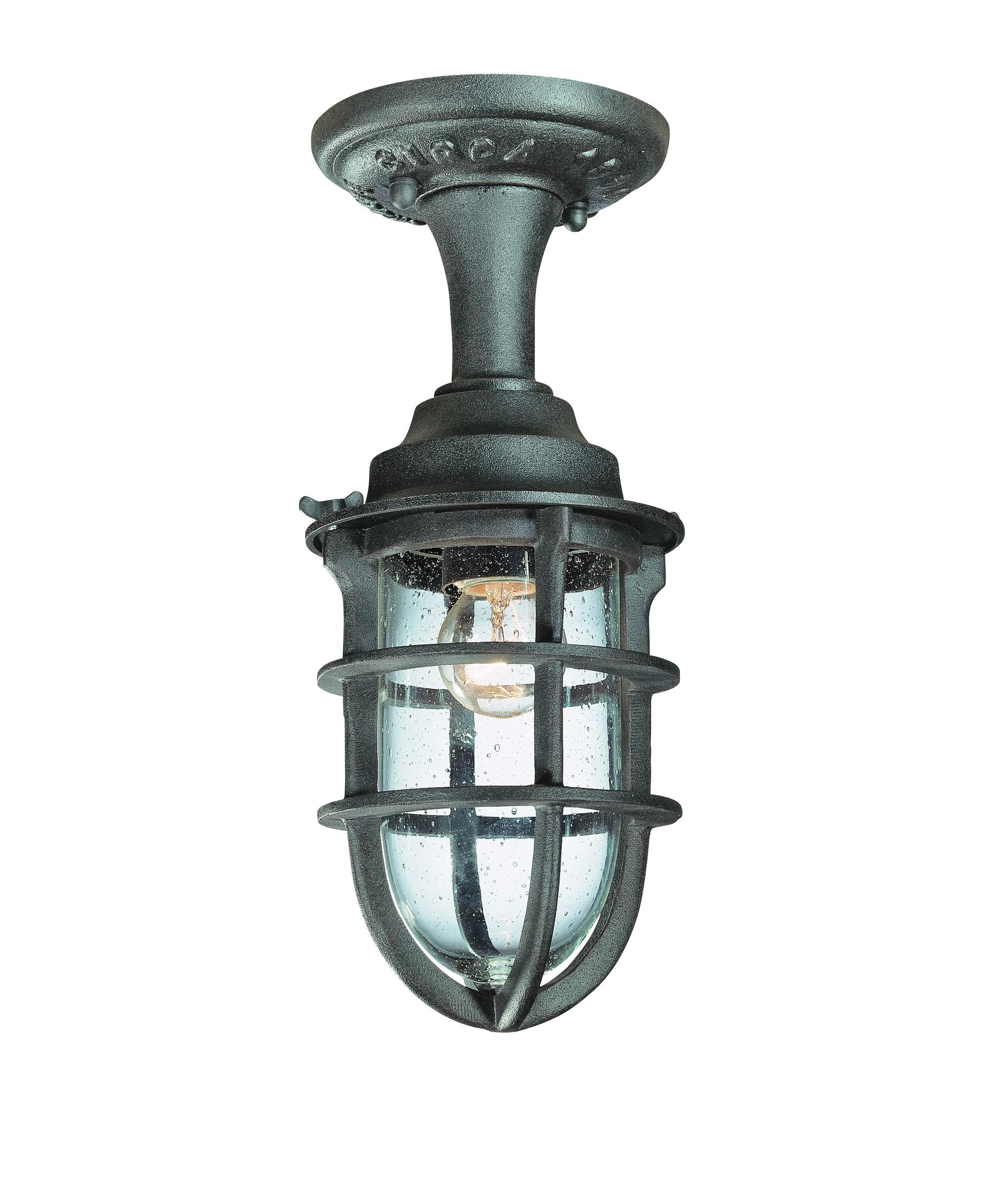Flush mount outdoor lighting - Shown In Nautical Rust Finish And Clear Seeded Glass