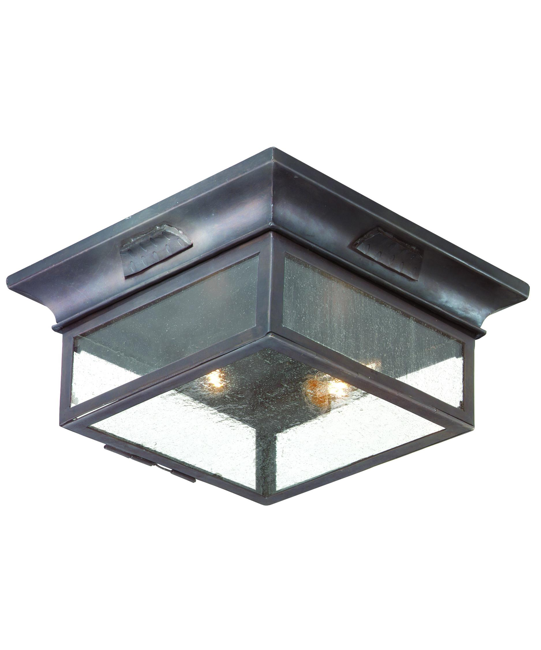 Flush mount outdoor lighting - Shown In Old Bronze Finish And Clear Seeded Glass