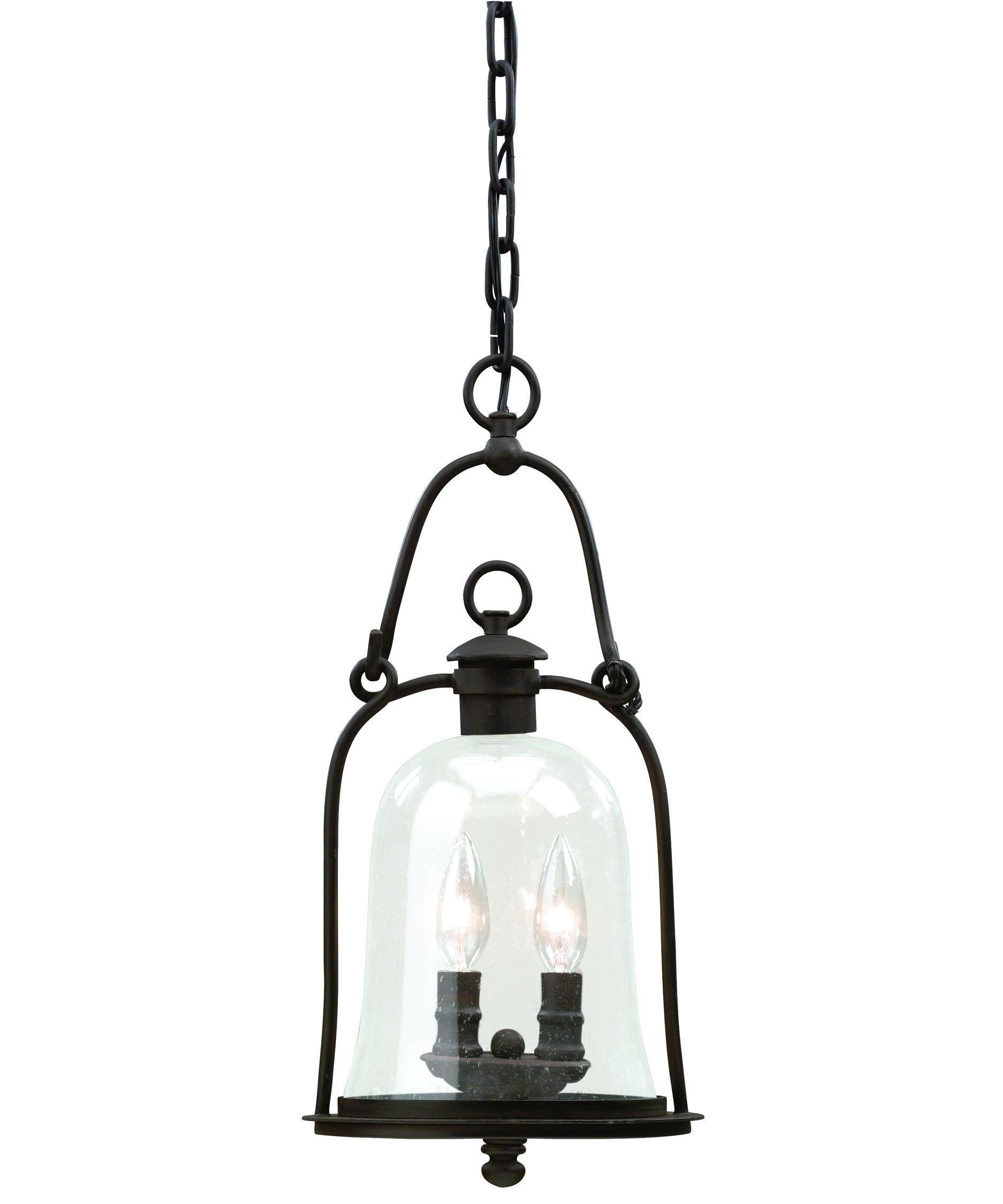 Outdoor hanging lamp - Shown In Natural Bronze Finish And Clear Seeded Glass