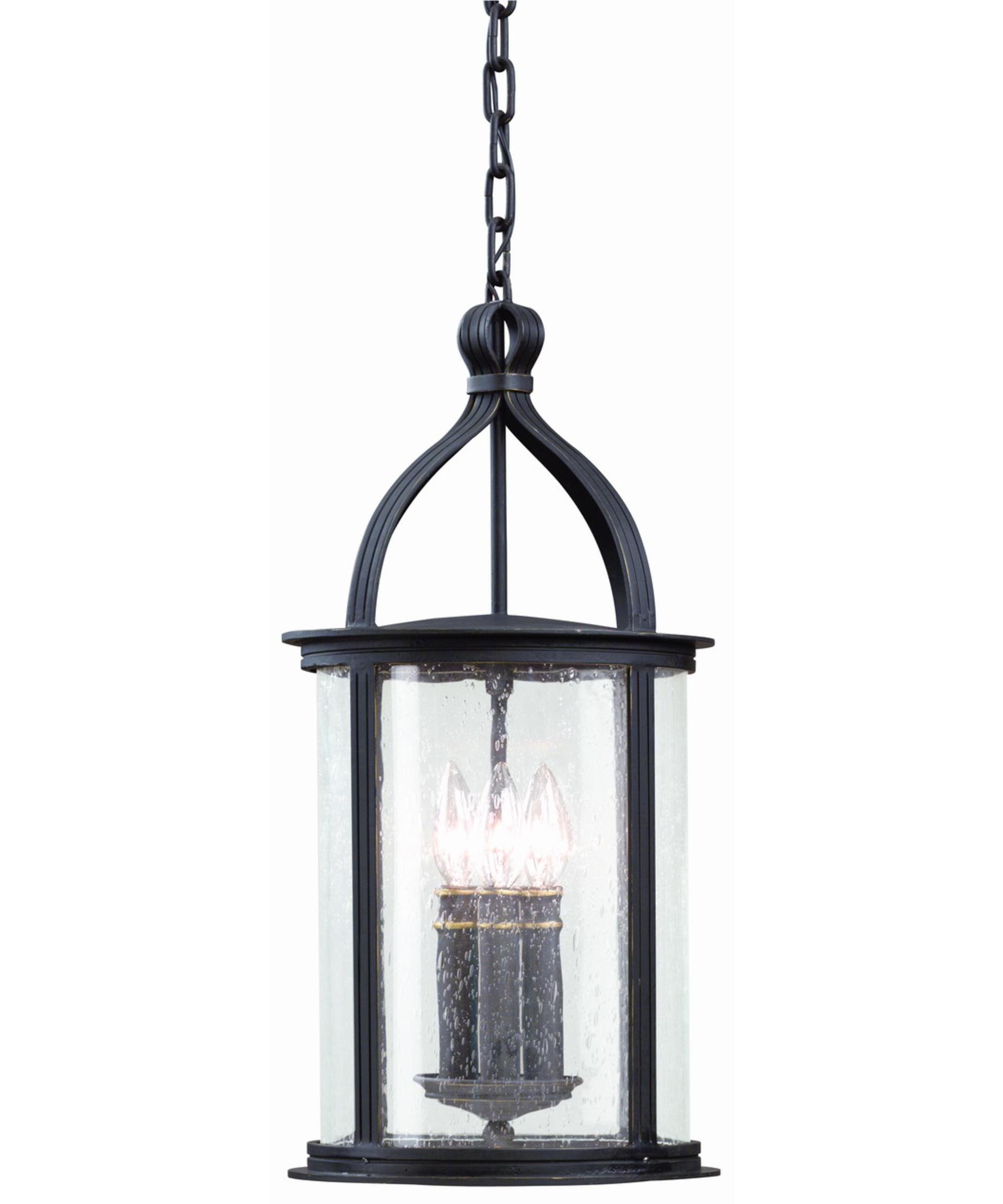 Outdoor hanging lighting - Shown In Forged Black Finish And Heritage Seeded Glass
