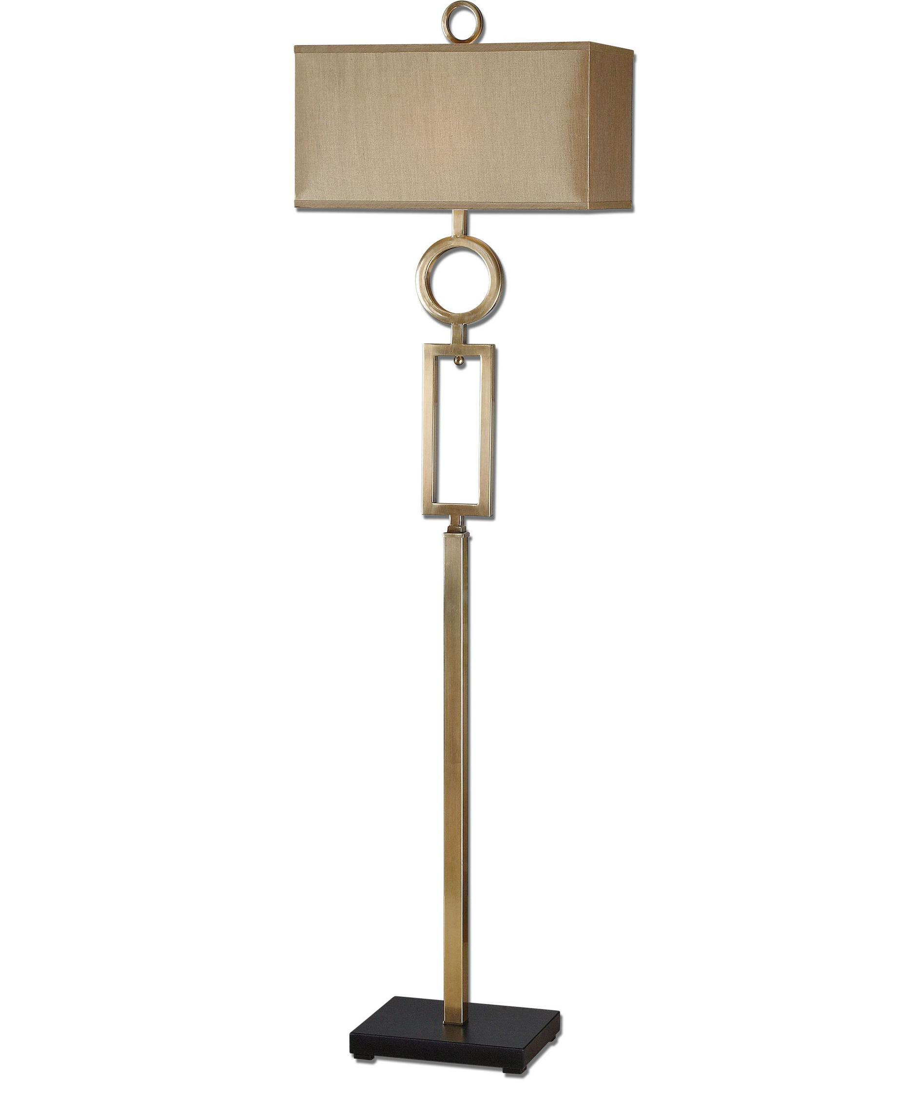 shown in plated coffee bronze finish and rectangle hardback shade