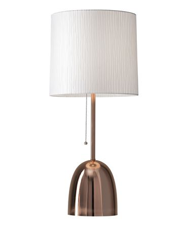 Shown in Brushed Copper finish and White Stripe Fabric shade