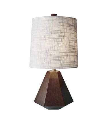 Shown in Walnut Birch Wood finish and Textured White Fabric shade