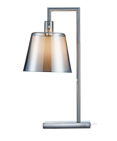 Shown in Brushed Steel finish, Smoked Mercury glass and Inner Off-White Fabric shade