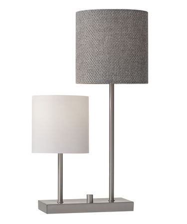 Shown in Brushed Steel finish and White Linen-Grey Weave Fabric shade