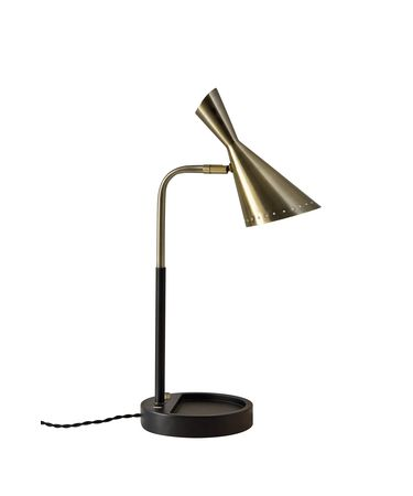 Shown in Black With Antique Brass finish and Antique Brass shade