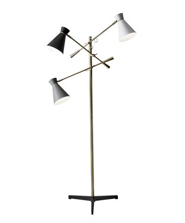 Shown in Antique Brass finish and Black-White-Grey shade