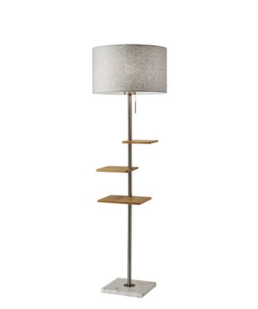 Shown in Brushed Steel And Natural Rubberwood finish and Soft Touch Light Grey Fabric shade