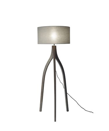 Shown in Pine Wood With Rustic Wash Black finish and Stone Grey Fabric shade