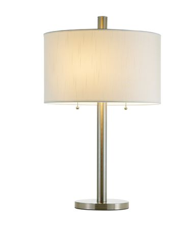 Shown in Satin Steel finish and Silk and Fabric shade