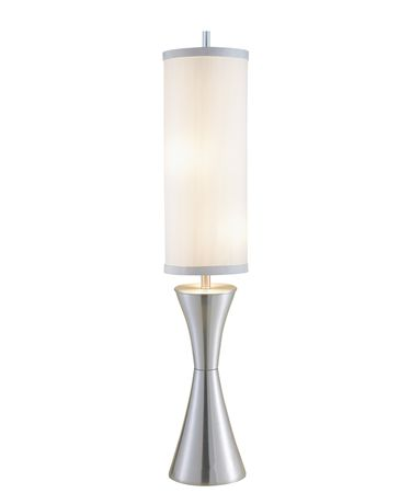 Shown in Steel finish and Ivory Silk shade