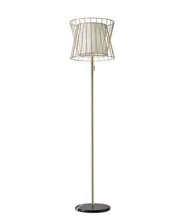 Shown in Shiny Gold finish and Shiny Gold Wire Cage-White Linen shade