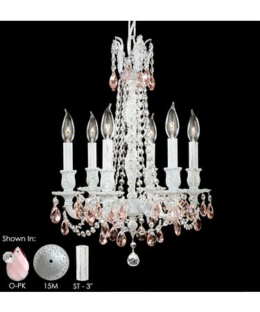 Shown in Royal White finish, Pink Precision Teardrop crystal and Matching Brass Candle Cover accent