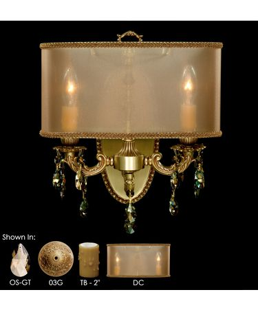 Shown in French Gold Glossy finish, Golden Teak Strass Teardrop crystal, Dark Copper shade and True Beeswax Candle Cover accent