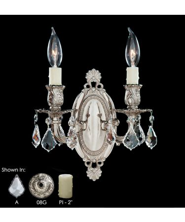 Shown in Silver finish, Clear Precision Pendalogue crystal and Pale Ivory Wax Candle Cover accent