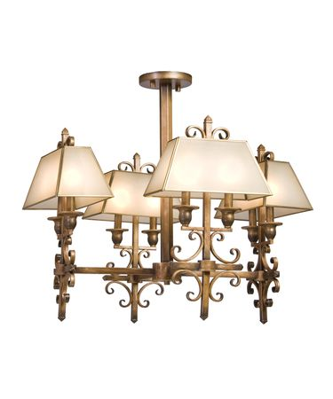 Shown in Distressed Bronze finish, Light Cream Colored Glass shade and Distressed Wood accent
