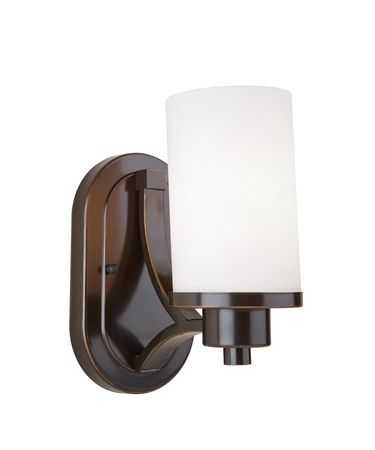 Shown in Oil Rubbed Bronze finish and Opal White glass