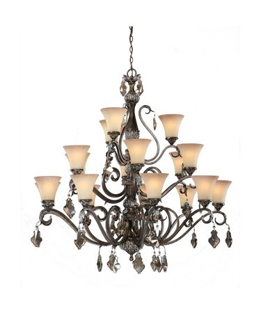 Shown in Bronze finish, Teak Crystal Jewels crystal, Amber glass and White Linen shade
