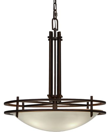 Shown in Oil Rubbed Bronze finish, Cream glass and White Fabric shade