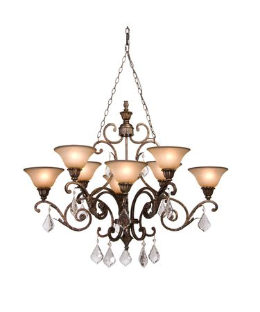 Shown in Bronze finish and Carmelized Glassware with Hand Applied Gold Trim glass