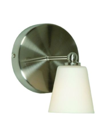 Shown in Brushed Nickel finish and White glass