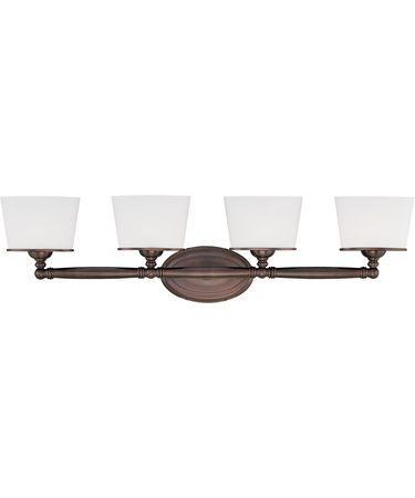 Shown in Burnished Bronze finish, White Oval glass and Soft White Silk Ribboned shade